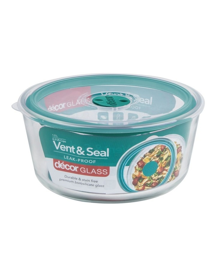 Vent & Seal Glass Round 1.5L Clear/Teal image 2