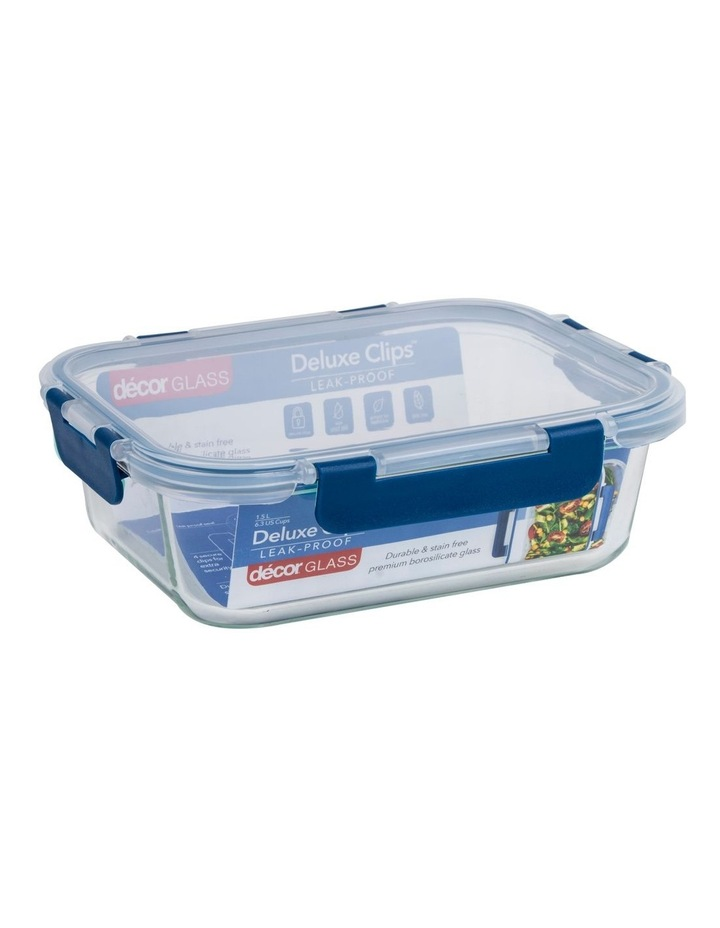 Deluxe Clips Glass Oblong 1.5L Clear/Blue image 2