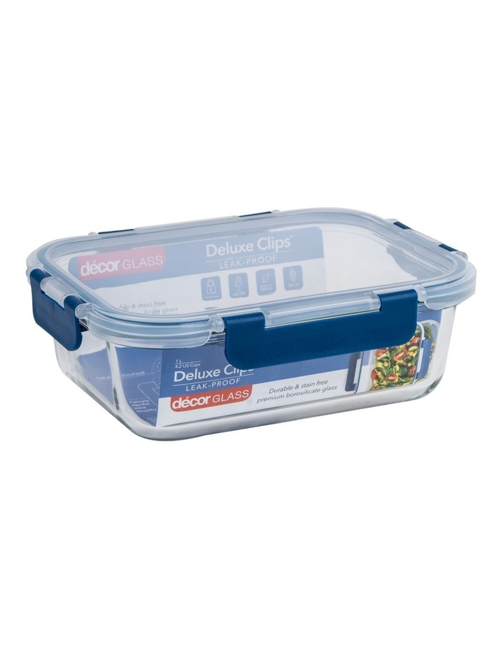 Deluxe Clips Glass Oblong 1L Clear/Blue image 2