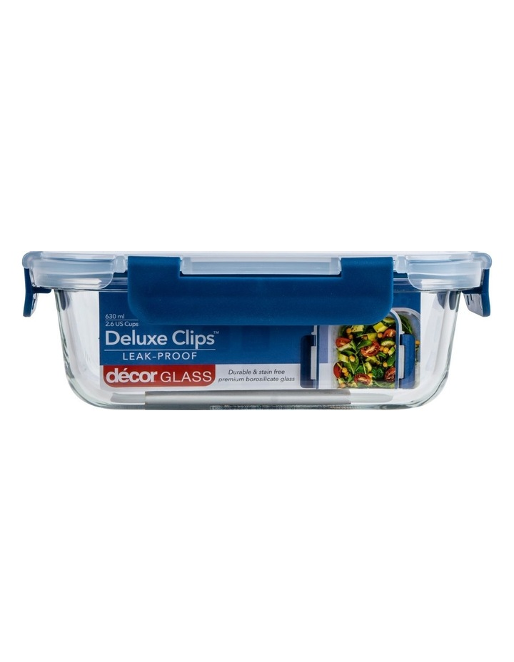 Deluxe Clips Glass Split Oblong 980mL Clear/Blue image 1