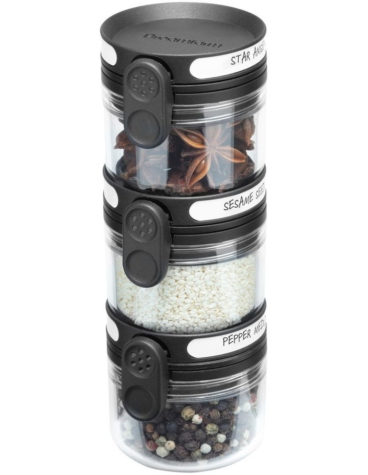 Orlid Glass Spice Jar with Dual-Flip Lid in Black/Clear image 1