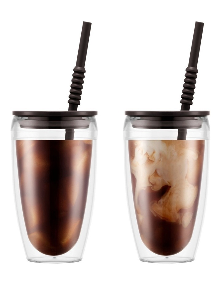 Pavina To Go Set of 2 Double-Walled Plastic Cups with Airtight Lid 0.4l Dark Roast image 1