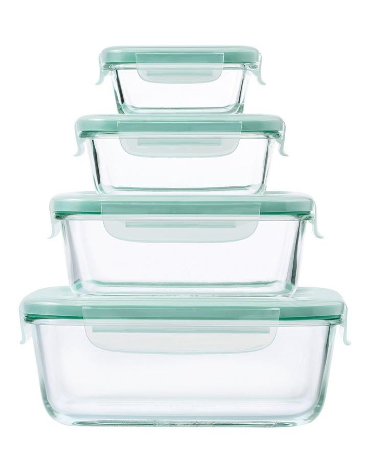 4-Piece Smart Seal Glass Rectangular Container Set image 1
