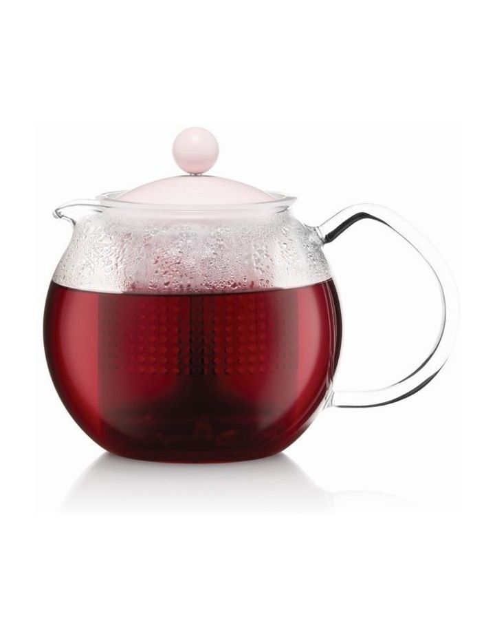 Assam Tea press with glass handle and colored plastic lid, 0.5 l, 17 oz - Straw image 1
