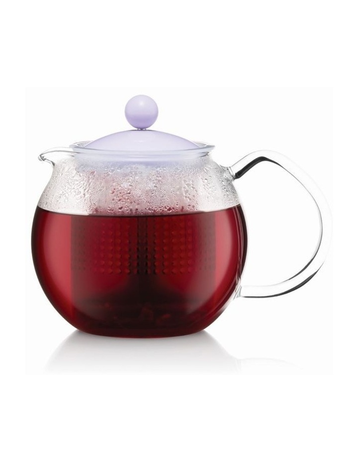 Assam Tea press with glass handle and colored plastic lid, 0.5 l, 17 oz - Verbe image 1