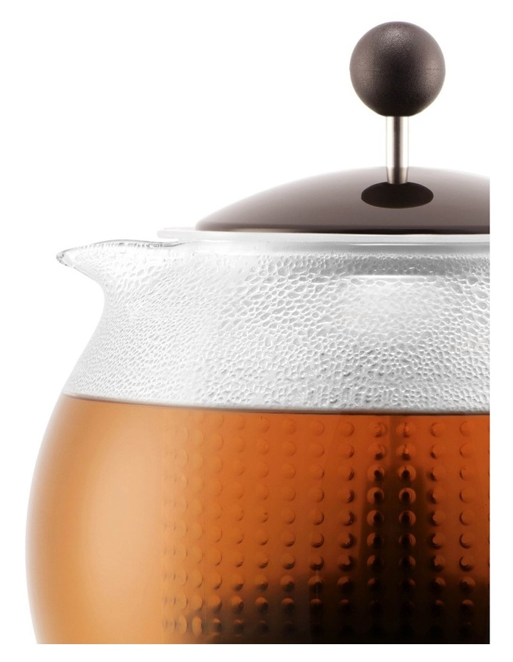 Assam Tea Press with Glass Handle, Plastic Filter and Coloured Plastic Lid 1 Litre Dark Roast image 2
