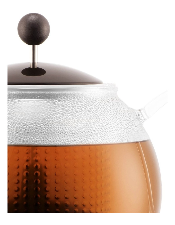 Assam Tea Press with Glass Handle, Plastic Filter and Coloured Plastic Lid 1 Litre Dark Roast image 3