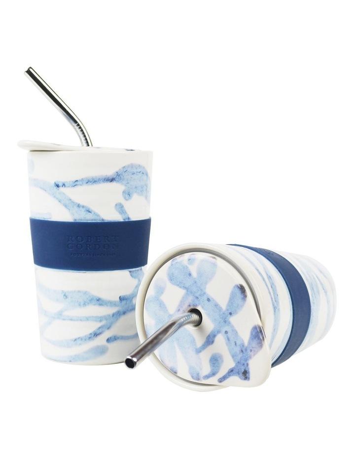 Journey Juice Cup Set of 2-Blue Splatter image 1