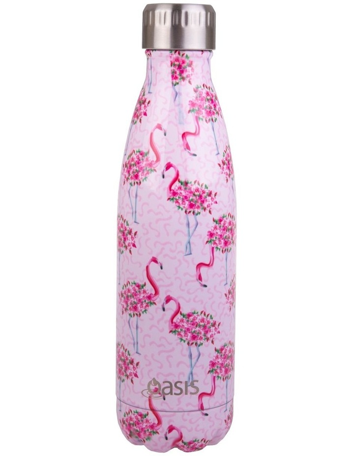 Stainless Steel Double Wall Insulated Drink Bottle 500ml - Flamingos image 1