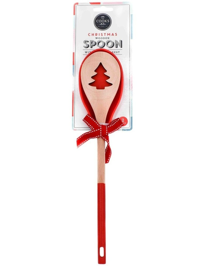Christmas Wood Spoon W/Silicone Rest Set image 1