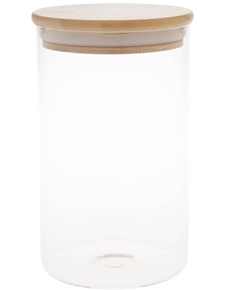 Bamboo and Glass 1L Storage Canister with Lid image 1