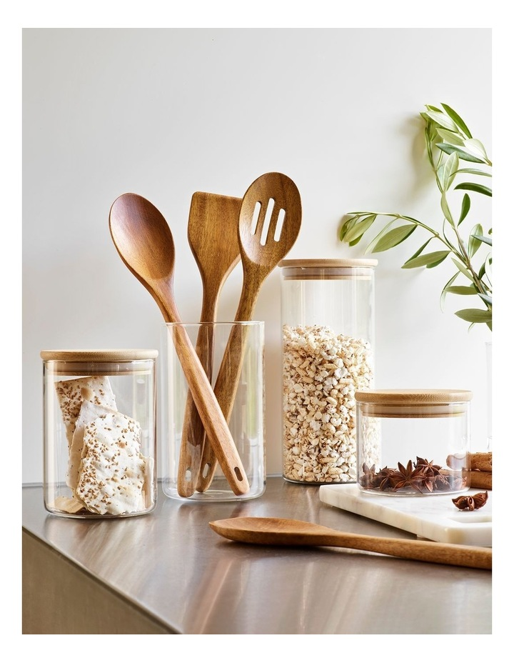 Bamboo and Glass 1L Storage Canister with Lid image 2
