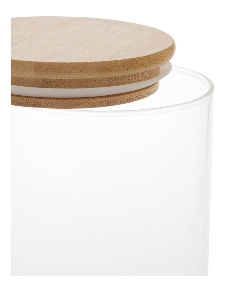 Bamboo and Glass Storage Canister with Lid 1L image 2