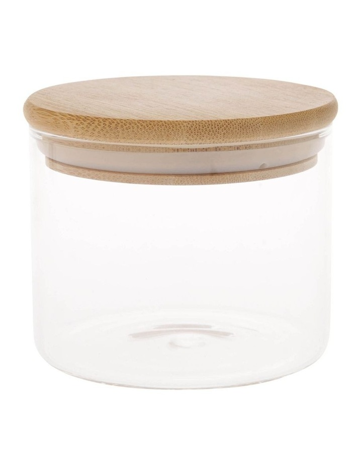 Bamboo and Glass Storage Canister with Lid 460mL image 1