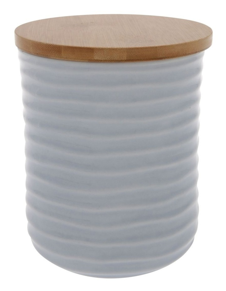 Medium Ripple Storage Jar with Reactive Glaze in Light Blue image 1