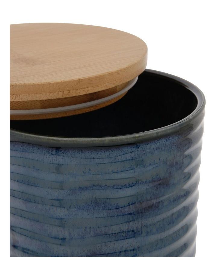 Large Ripple Storage Jar with Reactive Glaze in Dark Blue image 2