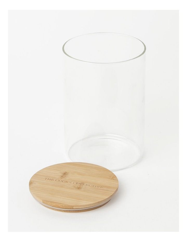 Round Bamboo and Glass Storage Canister with Lid 1680ml image 2