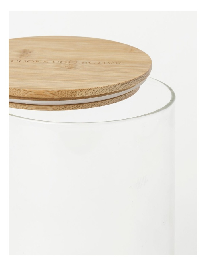 Round Bamboo and Glass Storage Canister with Lid 1680ml image 3