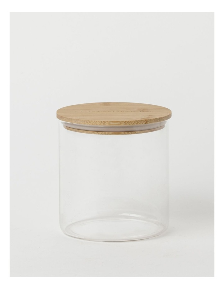 Round Bamboo and Glass Storage Canister with Lid 1 Litre image 1