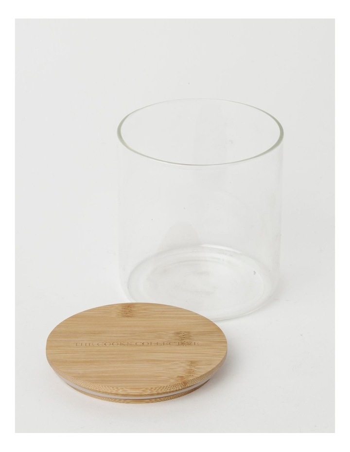 Round Bamboo and Glass Storage Canister with Lid 1 Litre image 2