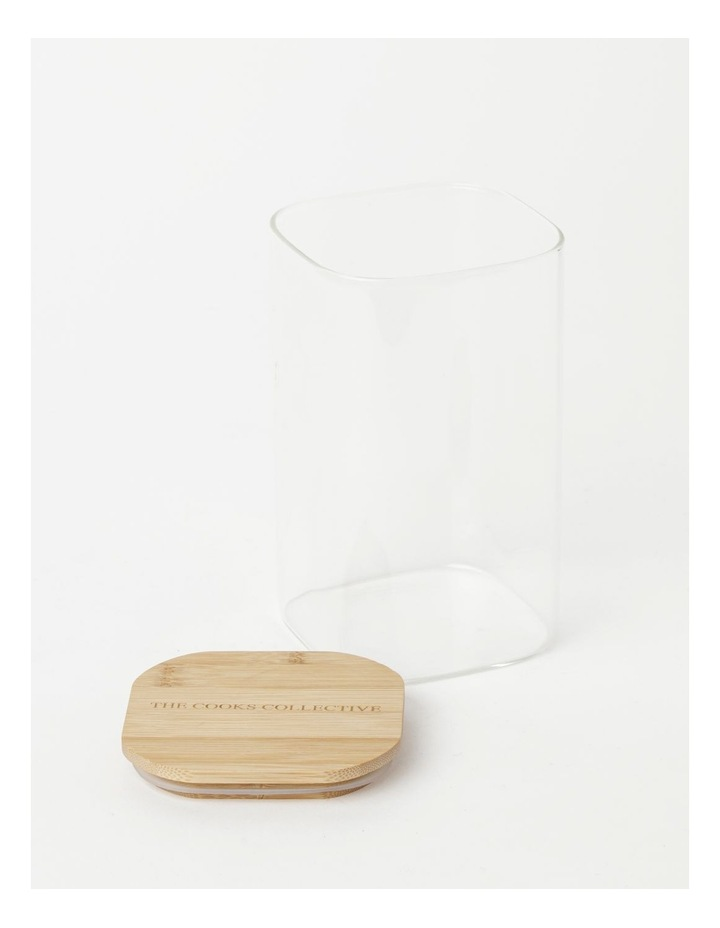 Square Bamboo and Glass Storage Canister with Lid 1600ml image 2