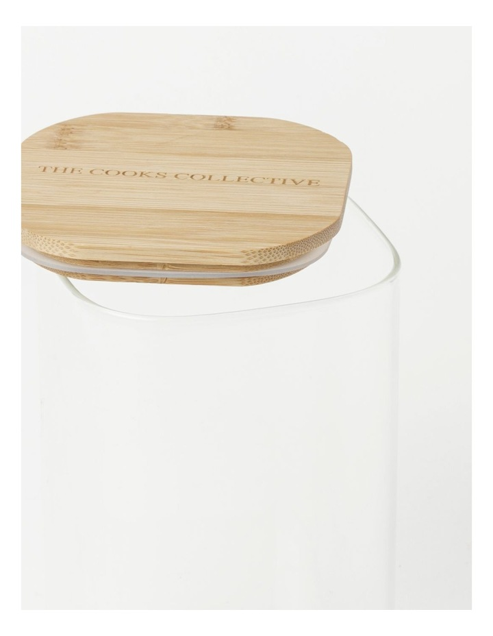 Square Bamboo and Glass Storage Canister with Lid 1600ml image 3