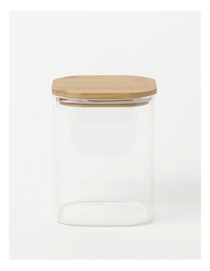 Square Bamboo and Glass Storage Canister with Lid 1300ml image 1