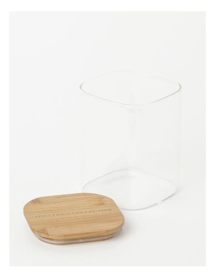 Square Bamboo and Glass Storage Canister with Lid 1300ml image 2