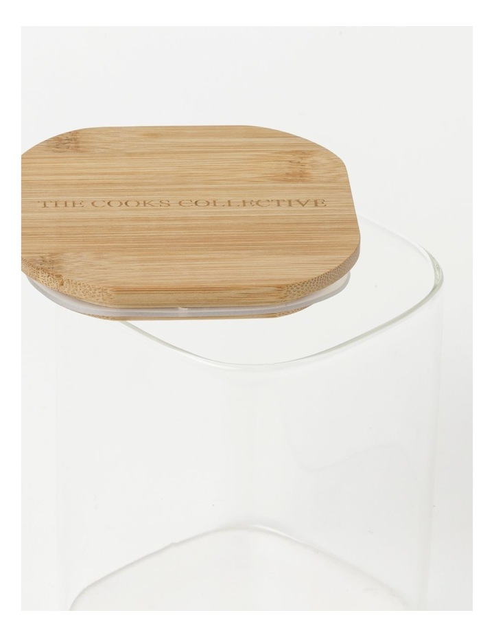 Square Bamboo and Glass Storage Canister with Lid 1300ml image 3