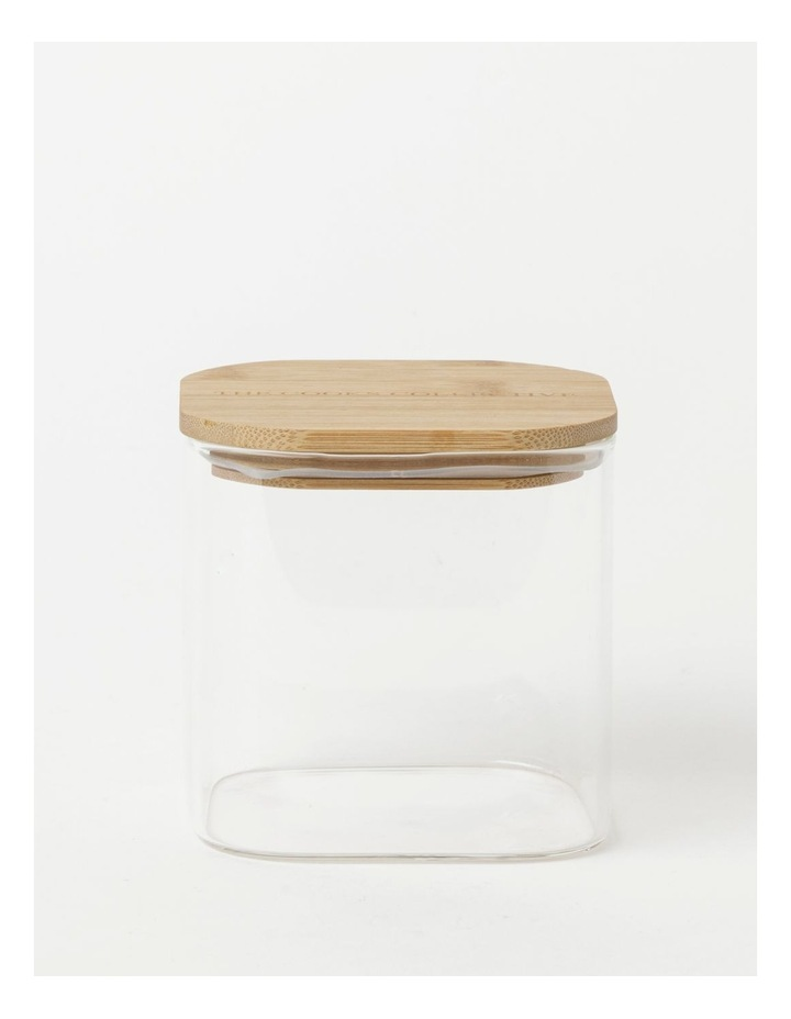 Square Bamboo and Glass Storage Canister with Lid 900ml image 1