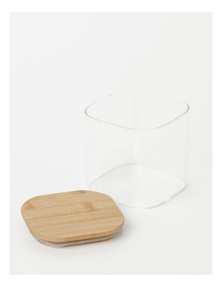 Square Bamboo and Glass Storage Canister with Lid 900ml image 2