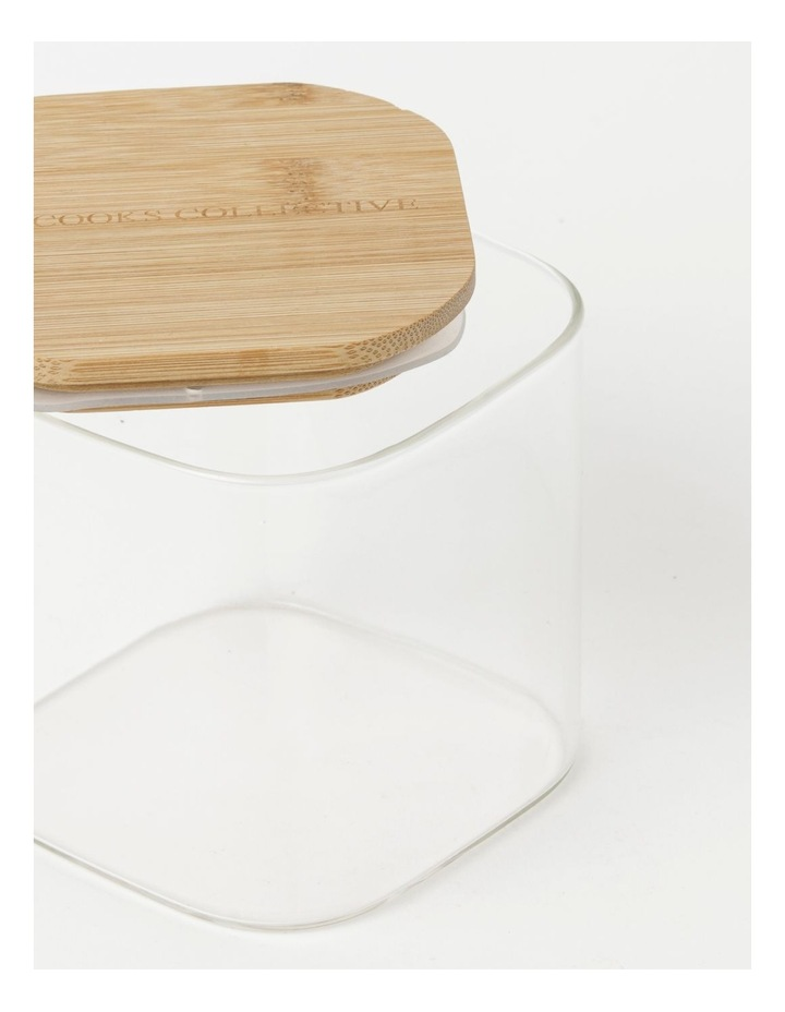 Square Bamboo and Glass Storage Canister with Lid 900ml image 3
