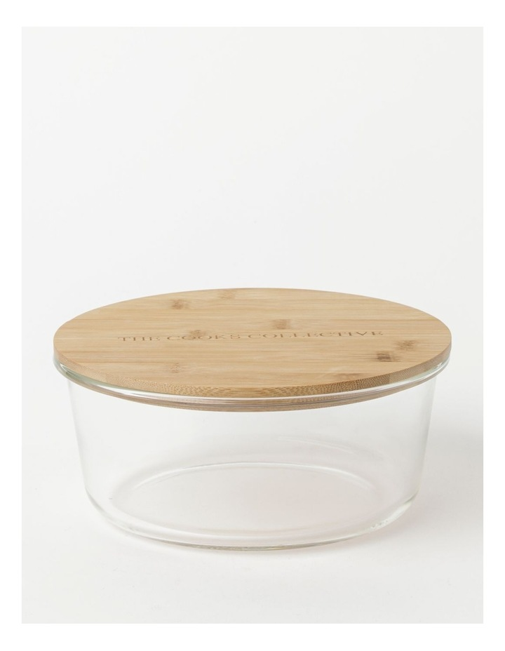 Round Bamboo and Glass Storage Canister with Lid 1750ml image 1