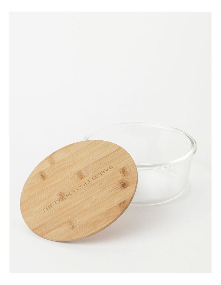 Round Bamboo and Glass Storage Canister with Lid 1750ml image 2