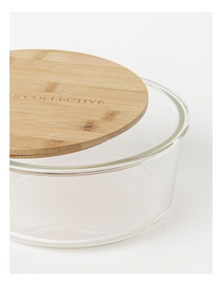 Round Bamboo and Glass Storage Canister with Lid 1750ml image 3