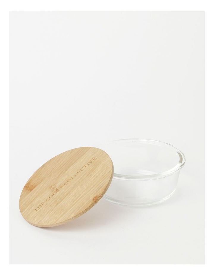 Round Bamboo and Glass Storage Canister with Lid 620ml image 2