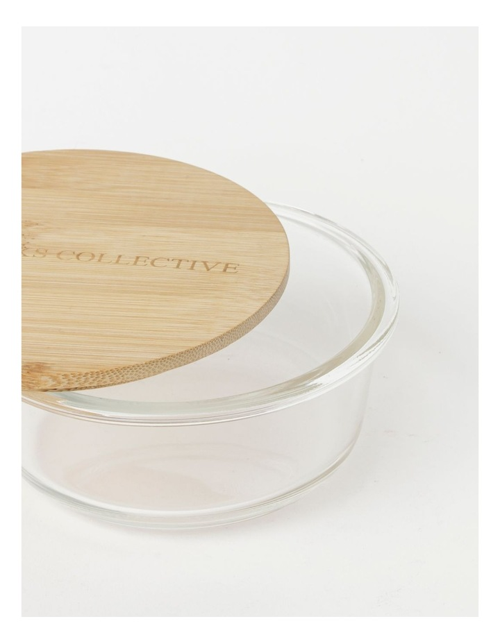 Round Bamboo and Glass Storage Canister with Lid 620ml image 3