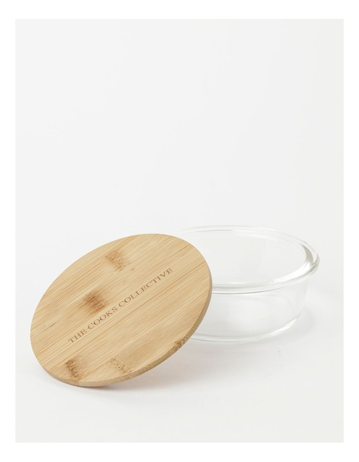 Round Bamboo and Glass Storage Canister with Lid 400ml image 2