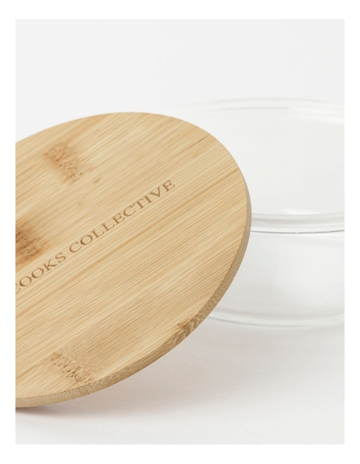Round Bamboo and Glass Storage Canister with Lid 400ml image 3