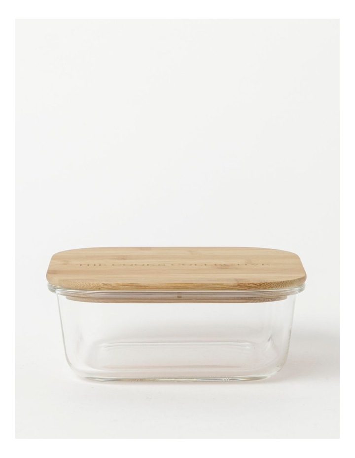 Square Bamboo and Glass Storage Canister with Lid 1200ml image 1