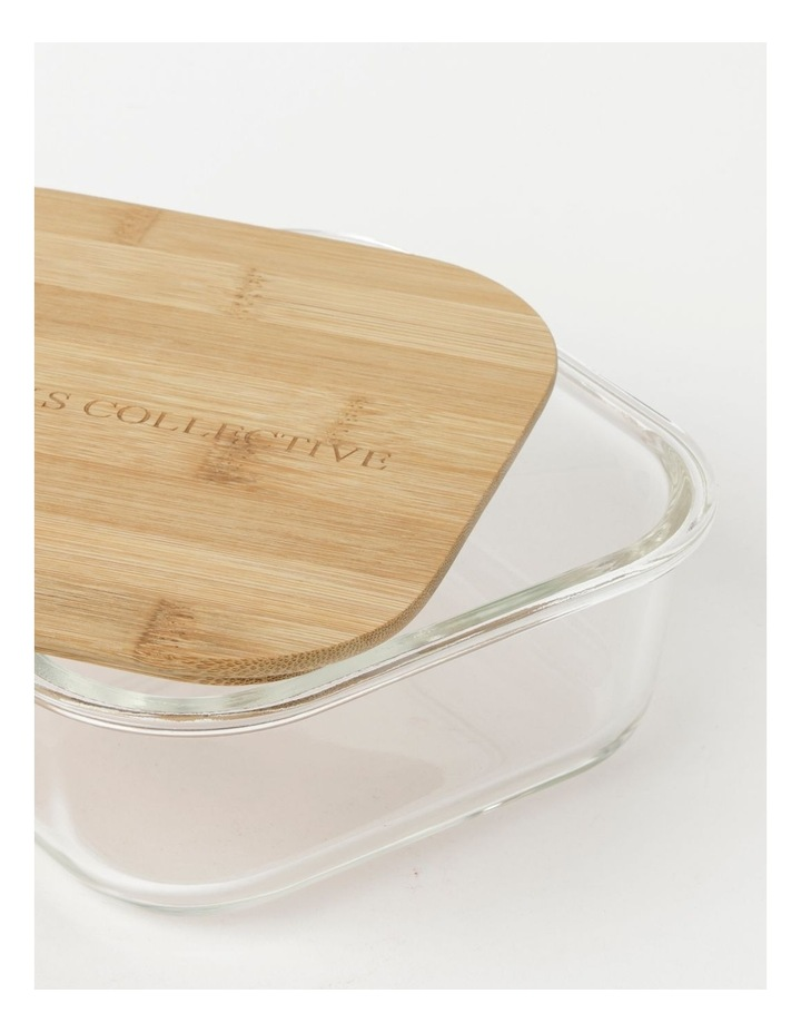 Square Bamboo and Glass Storage Canister with Lid 1200ml image 3
