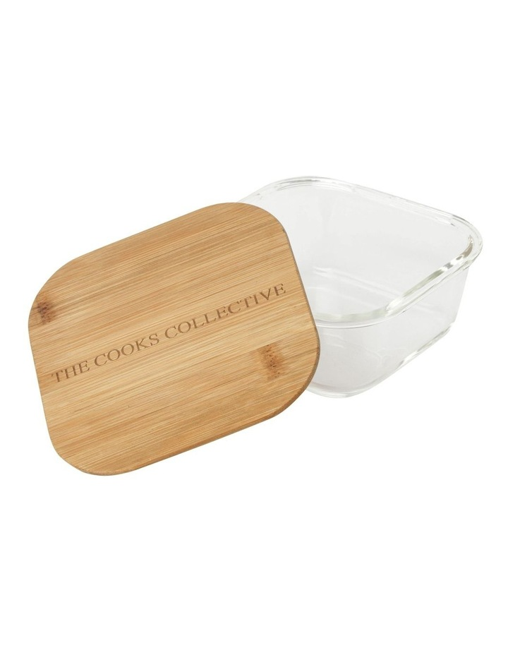 Square Bamboo and Glass Storage Canister With Lid 800mL image 2