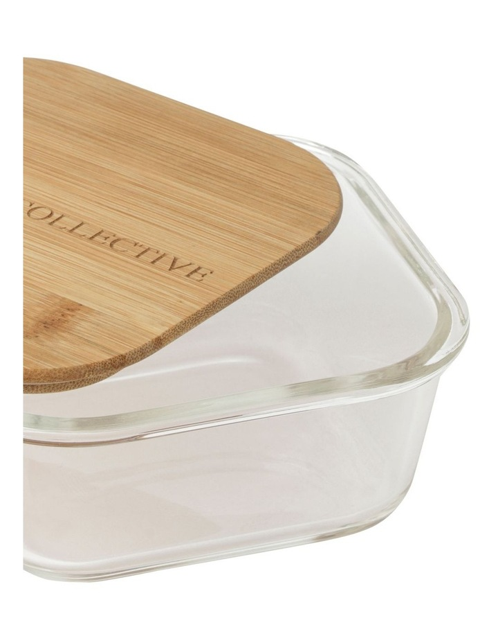 Square Bamboo and Glass Storage Canister With Lid 800mL image 3