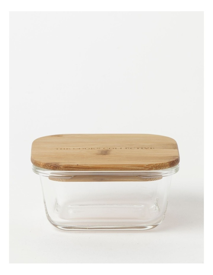 Square Bamboo and Glass Storage Canister with Lid 520ml image 1