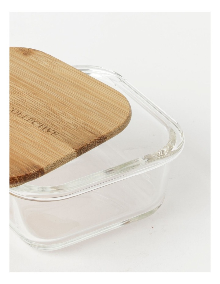Square Bamboo and Glass Storage Canister with Lid 520ml image 3