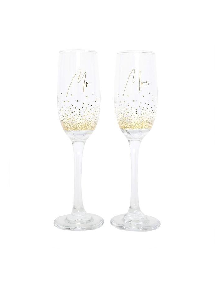Wedding Mrs & Mrs Champagne Flute Set image 1