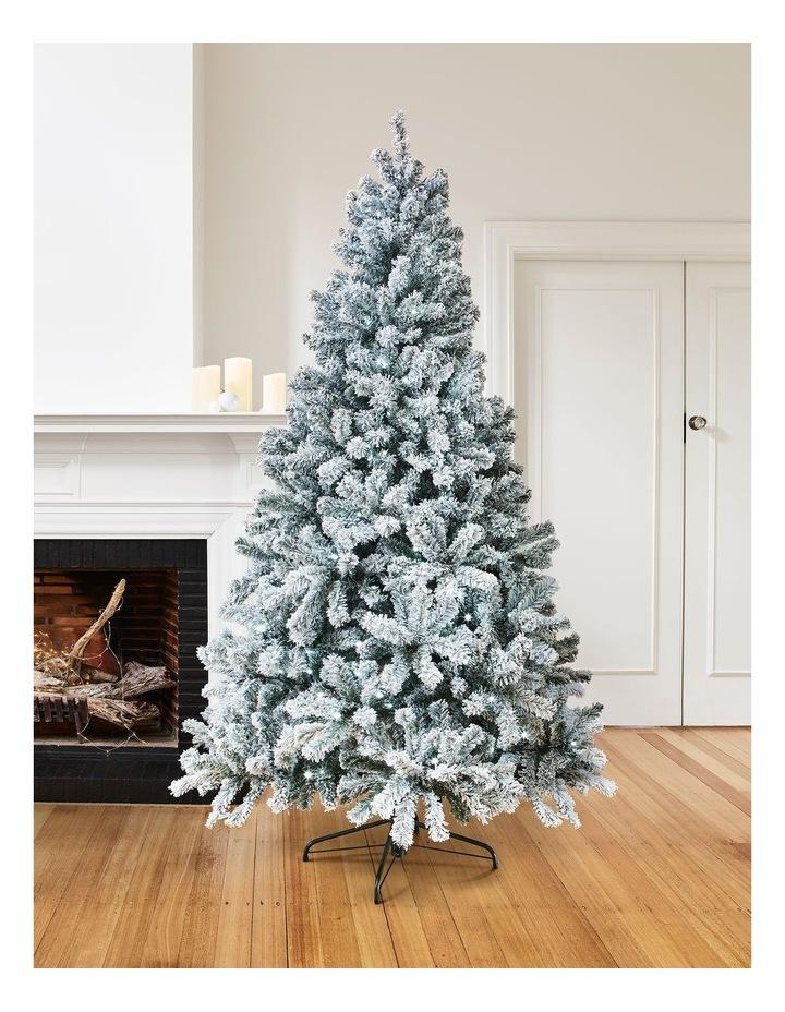 Arrow Pine Flocked 1480 tips Hinged Christmas Tree  Green/White: 270cm image 3