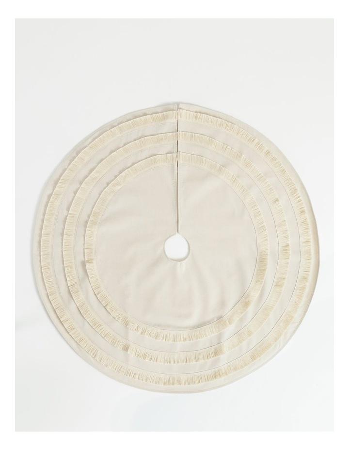 Eucalyptus Linen Fringed Tree Skirt- Cream: 121cm image 1