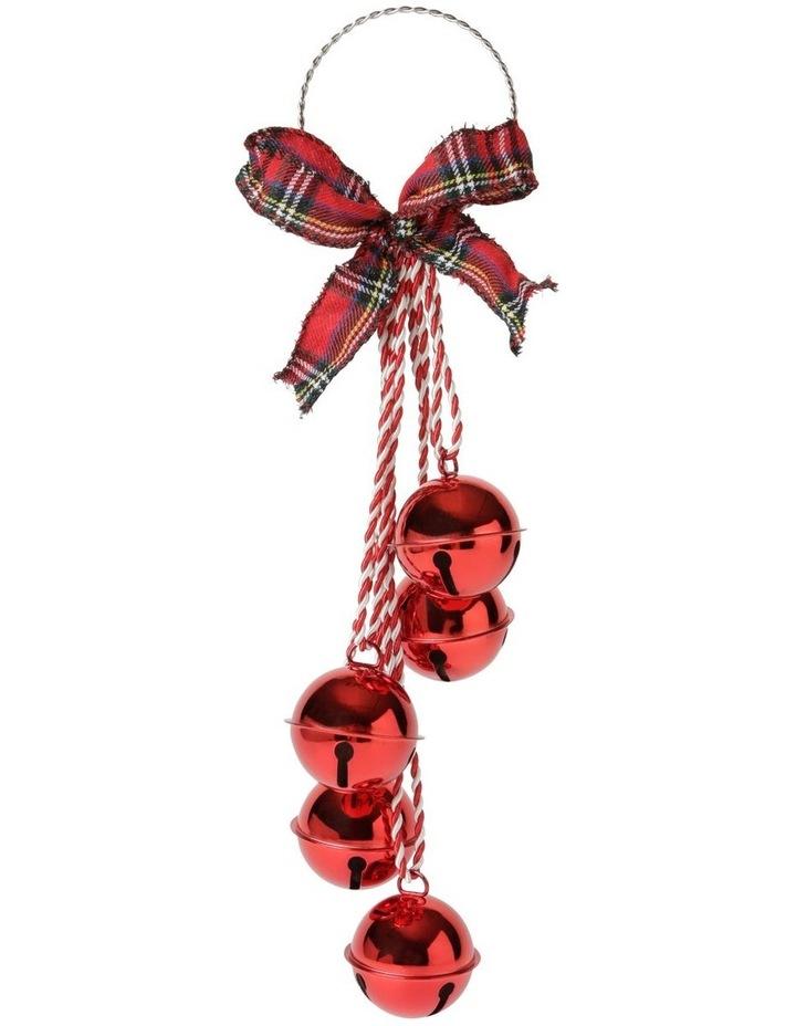 Heirloom Red Bell Cluster With Tartan Bow Door Hanger image 1