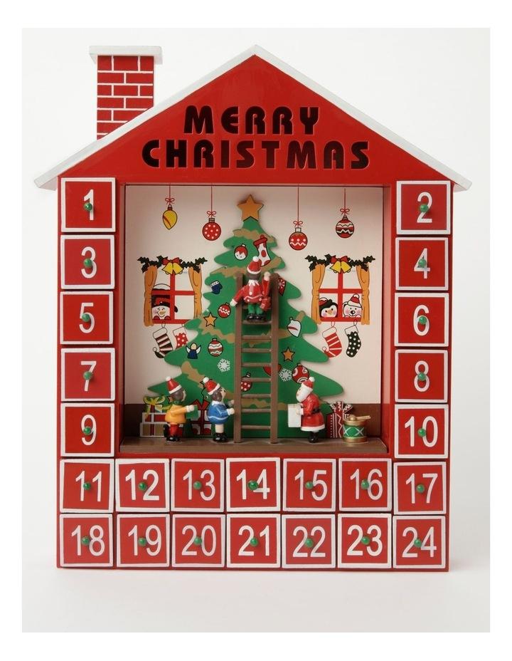 Merry & Bright Wooden Festive Tree Scene Calendar- Red: 38cm image 1